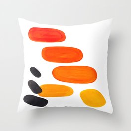 Mid Century Modern Colorful Minimal Pop Art Yellow Orange Ombre Rainbow Gradient Pebble Ovals Throw Pillow