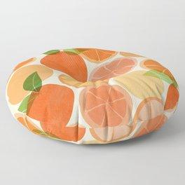 Sunny Oranges / Tropical Fruit Illustration Floor Pillow