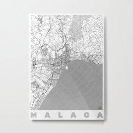 Malaga Map Line Metal Print