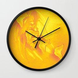 Vibrant butterflies and wattle Wall Clock