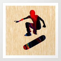 skateboard Art Prints featuring Skateboard by marvinblaine