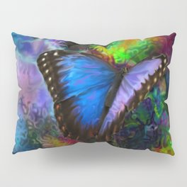 Blue Morpho Butterfly With Many Colors By Annie Zeno  Pillow Sham