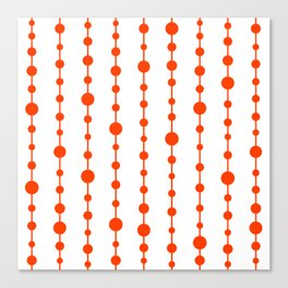 Orange vertical lines and dots Canvas Print