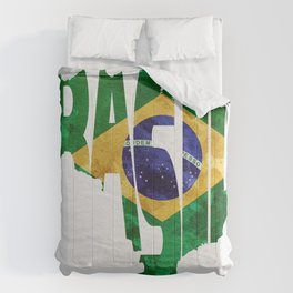Brasil Typographic World Map / Brasil Typography Flag Map Art Comforters