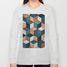 Copper, Marble and Concrete Cubes 2 with Blue Long Sleeve T-shirt
