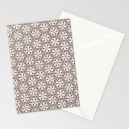 Red White Brown Geometric - Peppermint Wheels Stationery Cards