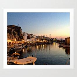 Sunset on Ciutadella Harbor 2 Art Print