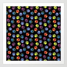 Black Rainbow Paw Print Pattern Art Print