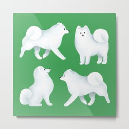 Samoyed Pattern (Green Background) Metal Print