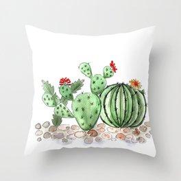 Cactus watercolor illustration Throw Pillow
