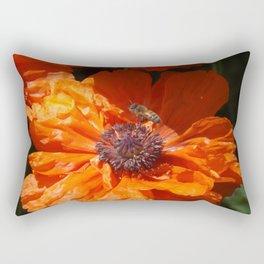 A Bee And A Poppy Rectangular Pillow