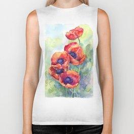 Watercolor red poppy flowers Biker Tank