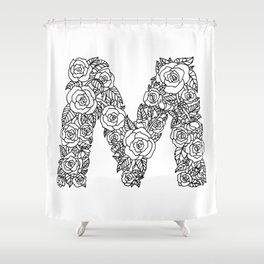 Floral Type - Letter M Shower Curtain
