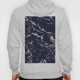 Modern navy blue silver marble pattern Hoody