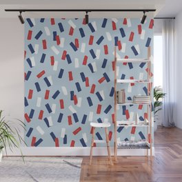 American confetti party minimal paper strokes 4th of July celebration pattern blue Wall Mural