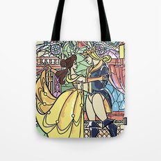 Stain glass Window Belle and the Prince Tote Bag