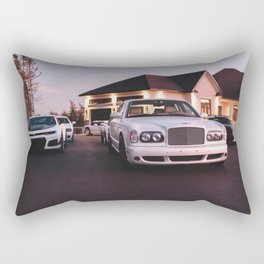collection of white cars in front of mansion Rectangular Pillow