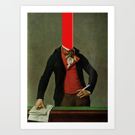 The red stripe in the head and the cigarette in the hand Art Print