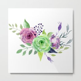 Posy GREEN AND VIOLET Painted - bouquet, nosegay, flower Metal Print