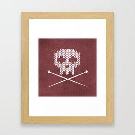 Knitted Skull (White on Red) Framed Art Print