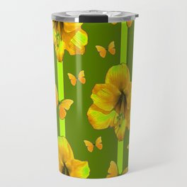 """GREEN AMARYLLIS """"FOR THE LOVE OF BUTTERFLIES"""" Travel Mug"""