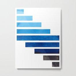 Prussian Blue Midcentury Modern Minimalist Staggered Stripes Rectangle Geometric Aztec Pattern Water Metal Print