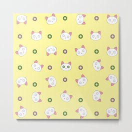 Glamour Cat Yellow Metal Print