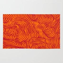 orange red flow Rug