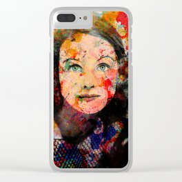 Pop Art Vintage Portrait Actress Clear iPhone Case