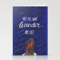 not all who wander Stationery Cards featuring WANDER by Cora Jaramillo