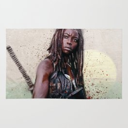 Michonne On The Walls Of Alexandria - The Walking Dead Rug