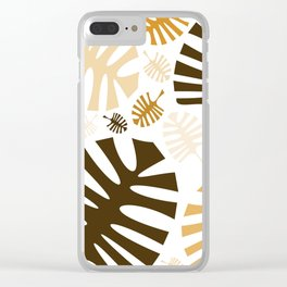 Monstera leaves in brown shades Clear iPhone Case