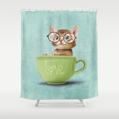 Kitten with glasses Shower Curtain