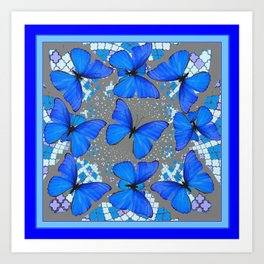 Decorative Blue Shades Butterfly Grey Pattern Art Art Print