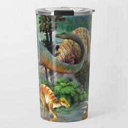Jurassic dinosaurs drink in the river Travel Mug