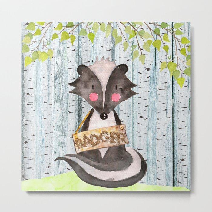 Badger- Woodland Friends- Watercolor Illustration Metal Print