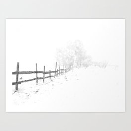Fence and Snow Art Print