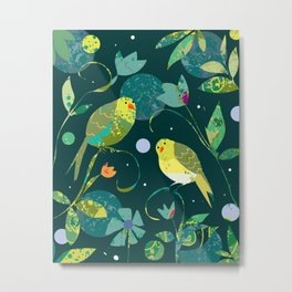Pea Green Birds on Dark Teal Background Metal Print