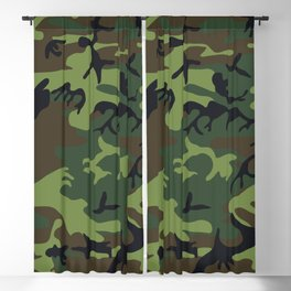 Green Forest Military Camo Blackout Curtain