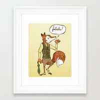 mr fox Framed Art Prints featuring Mr. Fox by Drew Brockington