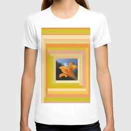 Orange Daylily, terracotta orange beige yellow green tan gold T-shirt
