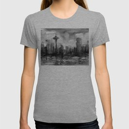 Seattle Skyline Painting Watercolor Black and White Space Needle T-shirt