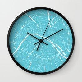 Paris France Minimal Street Map - Turquoise Blue Wall Clock