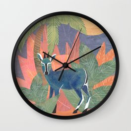 Blue Antelope in the Jungle Wall Clock
