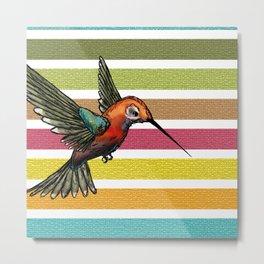 Colorful Hummingbird Stripes & Mosaic Tiles Metal Print