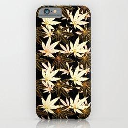 Cannabis Leaf (Golden Calico) - Black iPhone Case