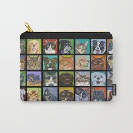 Cats and Dogs in Black Carry-All Pouch