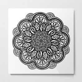 Floral Black and White Mandala Metal Print