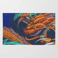 lakers Area & Throw Rugs featuring Purple & Gold Sado Dragon by SADOstyle