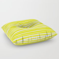 Small Sun Yellow Handdrawn horizontal Beach Stripes - Mix and Match with Simplicity of Life Floor Pillow